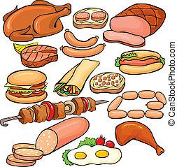 set, producten, vlees, pictogram