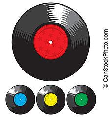set, registreren, vinyl, vector