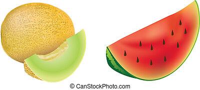 set, rood, meloenen