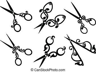 set, scissors., retro