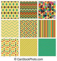 set., seamless, hipster, retro, achtergrond, geometrisch