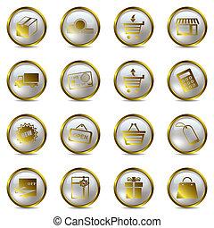 set, shoppen , goud, iconen