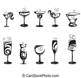 set, silhouette, cocktail glazen