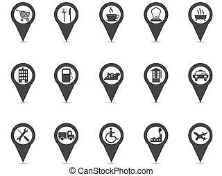 set, spelden, iconen, black , plaats, plek, navigatiesysteem