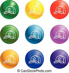 set, ster, iconen, pet, vector, honkbal