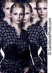 set, stylization., collage., moderne, elegant, mannequin, jurkje