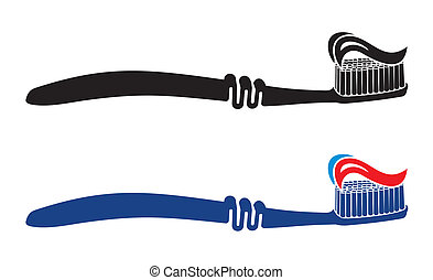 set, tandenborstel, illustratie, vector