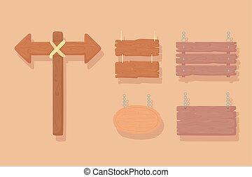 set, tekens & borden, raad, houten