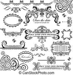 set., trouwfeest, design.