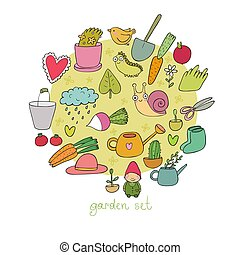 set, tuin, groentes, insects., potten, gardening., planten, objects., gereedschap
