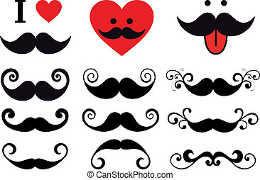 set, vector, ontwerp, mustache