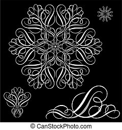 set, vector, ornament, witte