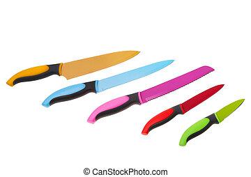 set, veelkleurig, achtergrond., plezier, witte , keuken, knives.