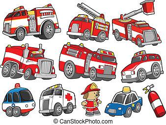 set, vervoer, het voertuig van de redding