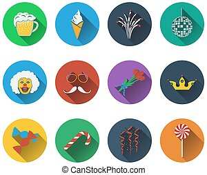 set, viering, iconen
