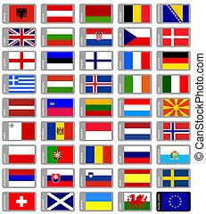set, vlaggen, europeaan