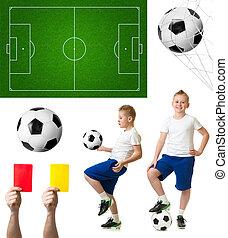 set, voetbalspeler, akker, incluis, voetbal, of