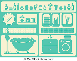 set., voorwerpen, het baden, baden kamer