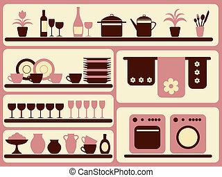 set., voorwerpen, keuken, thuis, waar