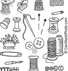 set, voorwerpen, naaiwerk