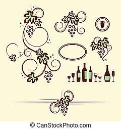 set., voorwerpen, ontwerp, winery