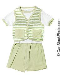 set, vrijstaand, groene, baby, witte , kleren
