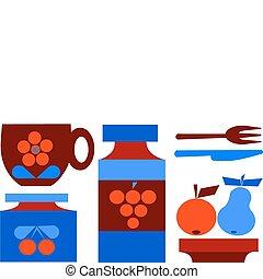 set, vruchten, vrijstaand, illustratie, kop