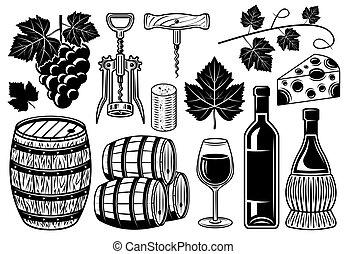 set, wijntje, communie, voorwerpen, winery, of, vector
