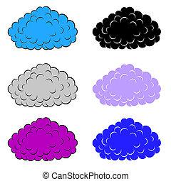 set, wolken, kleurrijke