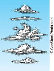 set, wolken, retro, (vector)