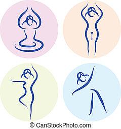 set, yoga, vrijstaand, silhouette, lijn, witte