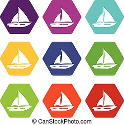 set, zeilend, kleur, hexahedron, jacht, pictogram
