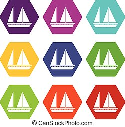 set, zeilend, kleur, hexahedron, scheepje, pictogram