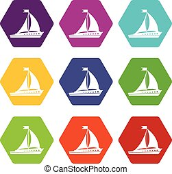 set, zeilend, kleur, hexahedron, scheeps , pictogram