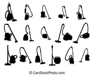 sete, vector, cleaners., illustration., vacuüm