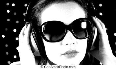 sexy, dansen, vrouw, headphones