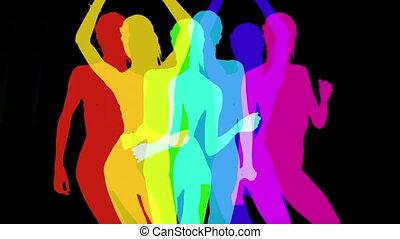 sexy, silhouettes, danser, schaduw