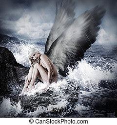 sexy, vrouw, blonde , engel vleugels