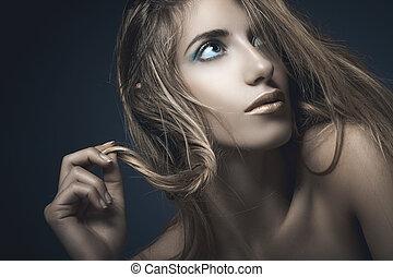 sexy, vrouw, jonge, beauty, verticaal