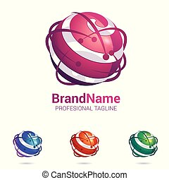 sferisch, abstract, oppervlakte, stylised, logo, 3d