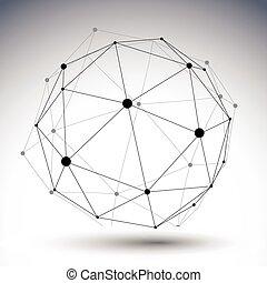 sferisch, di, kleur, abstract, illustratie, enkel, vector, lined, 3d