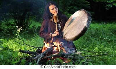 shamanic, ritueel, vuur, bos