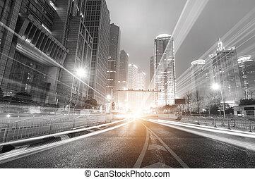 shanghai, nacht, financiën, moderne, achtergrond, zone, stad, handel, lujiazui, &