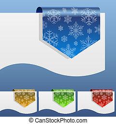 shapes., krom, winter, etiketten, papier, korting, rand, leeg, sneeuwvlok, ongeveer