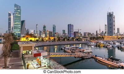 sharq, bootjes, kuwait., stad, koeweit, timelapse, jachtboten, middelbare , nacht, jachthaven, oosten, dag