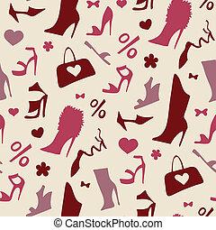 shoes., pattern., seamless, vrouwen