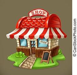shop., vector, pictogram, 3d