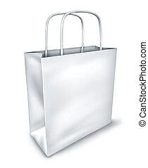 shoppen , aanzicht, zak, bovenzijde, leeg, witte