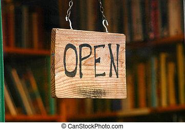 shoppen , beeld, meldingsbord, venster, boek, detailhandel, open, winkel