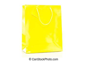shoppen , gele, zak, enkel, achtergrond, witte